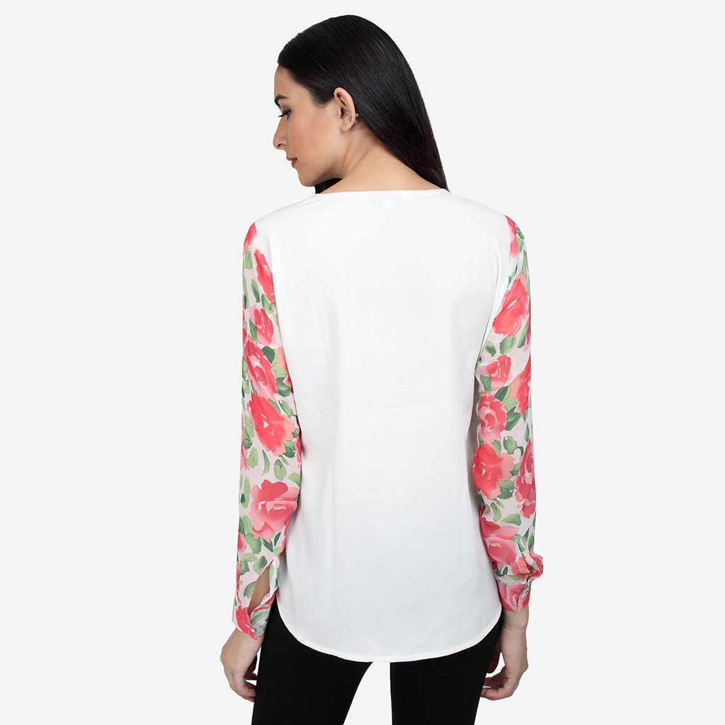 Red and White Georgette Floral Printed V-neck Shirt
