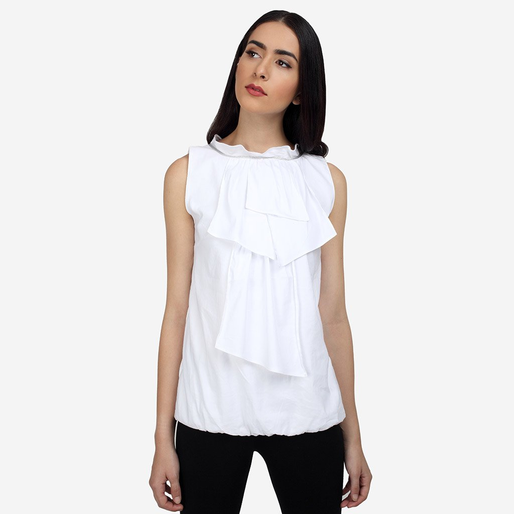 White Cotton Sleeveless Balloon Top with Ruffles