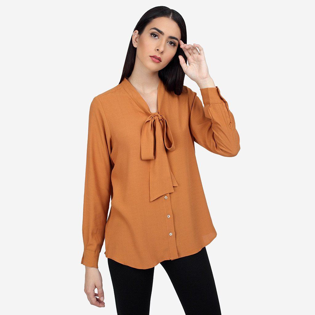 Rust Georgette Formal Shirt with Bow Tie