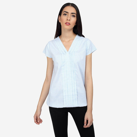 Blue White Cotton Formal Top with Pleats