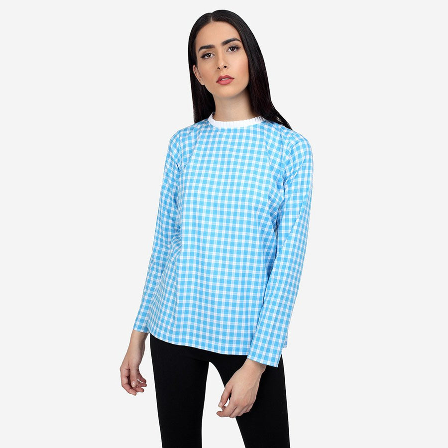 Cotton Plaid Top with Neck Ruffles