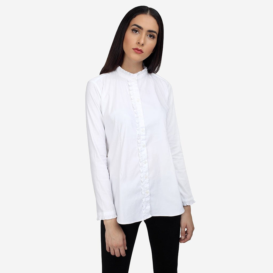 White Formal Tailored Shirt with Ruffles