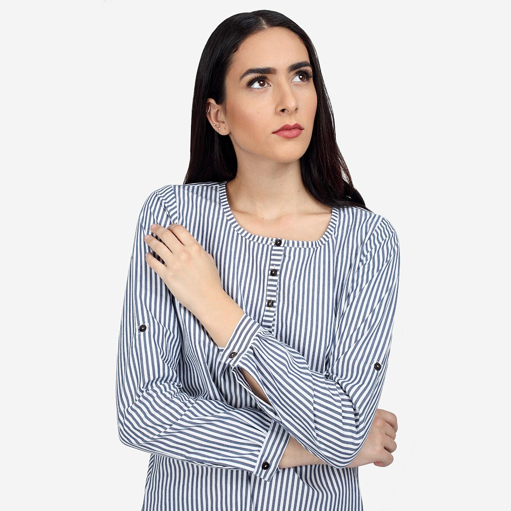Premium Cotton high low Tunic with Stripes