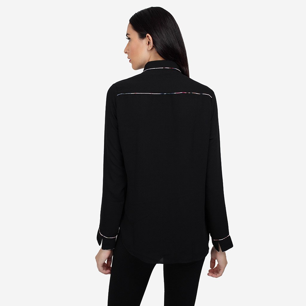 Black Georgette Shirt with Piping