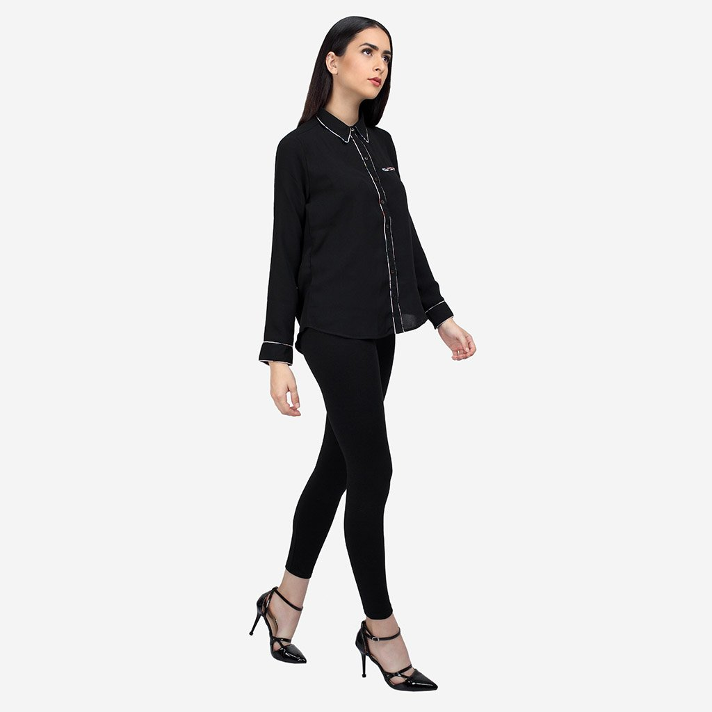 Black Georgette Business Casual Shirt with Piping