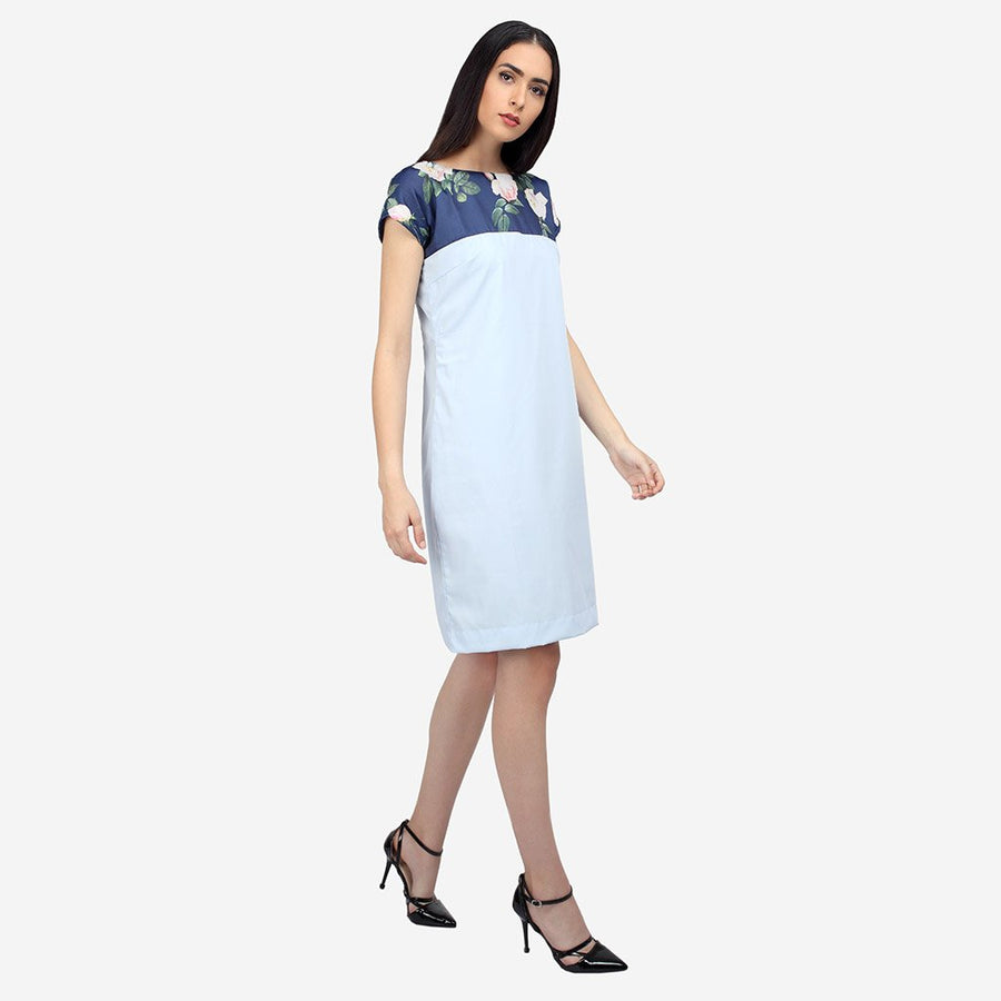Blue Cotton Silk Shift Dress