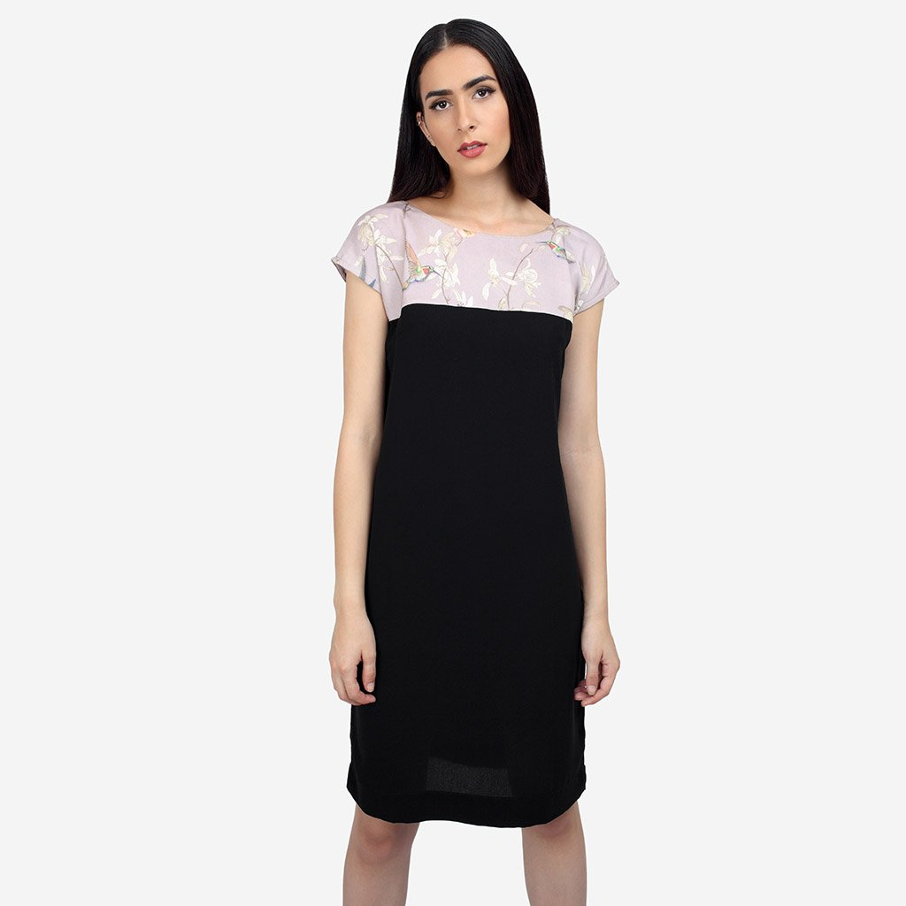 Easy Black Georgette Shift Dress