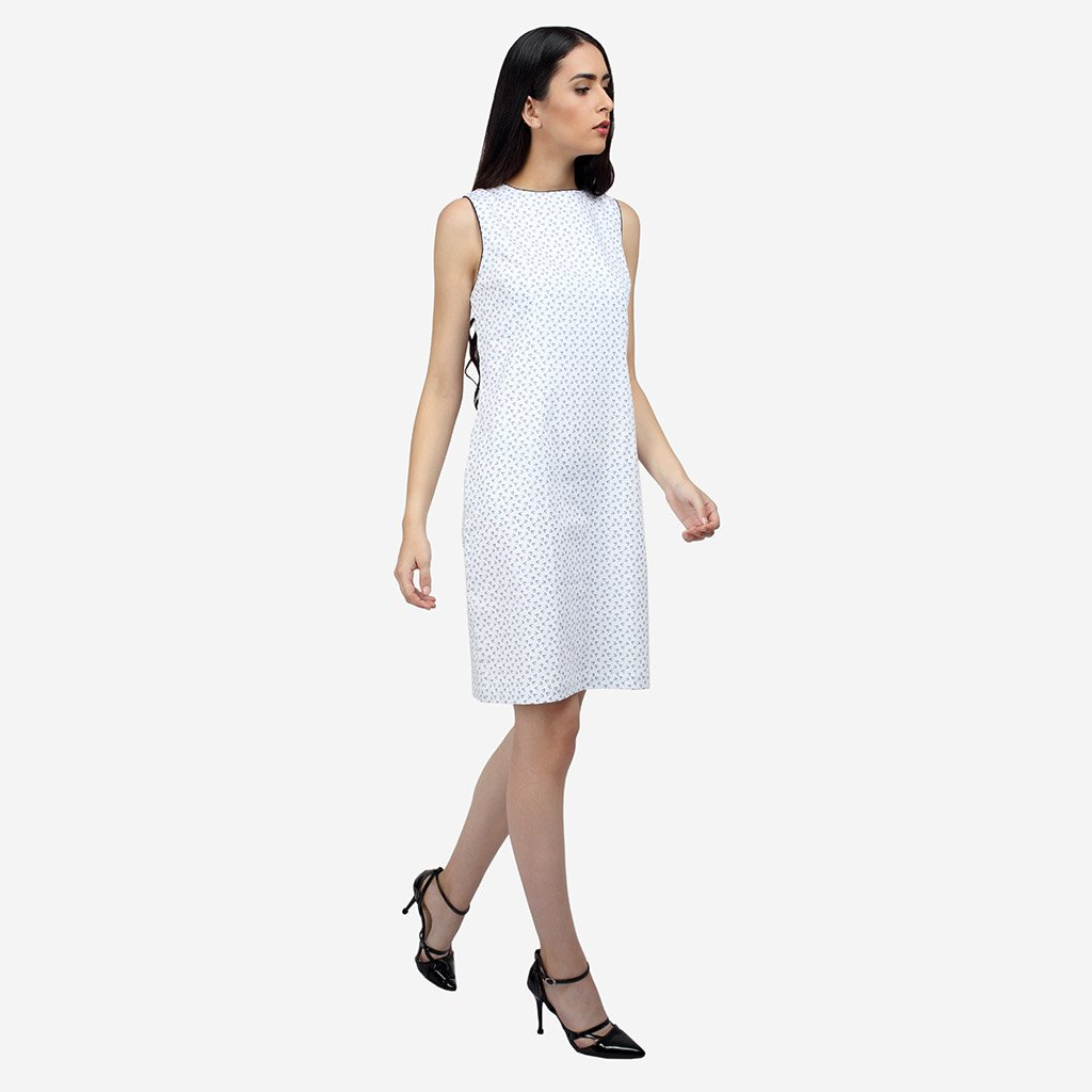 White Cotton Knee Length Bodycon Sleeveless Formal Dress