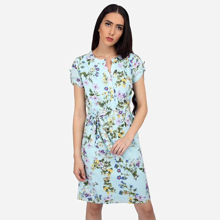 Blue Floral Cotton Knee Length A-line Dress
