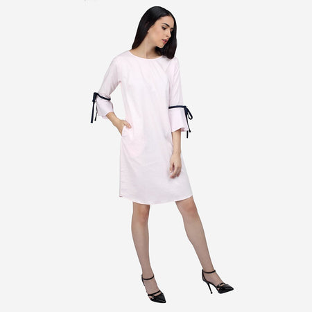 Pink Cotton Knee Length A Line Dress with Bell Sleeves