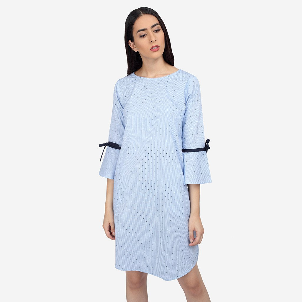 Blue Cotton Striped A Line Dress with Bell Sleeves