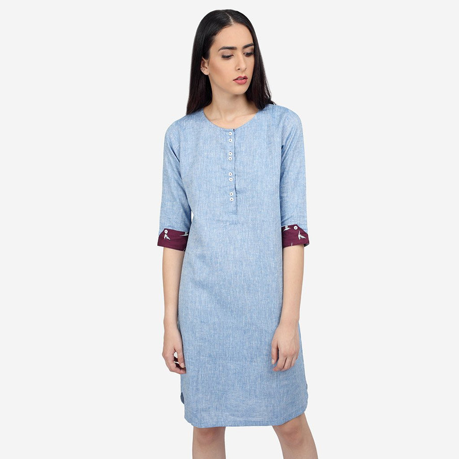 Blue Linen Knee Length Shift Dress