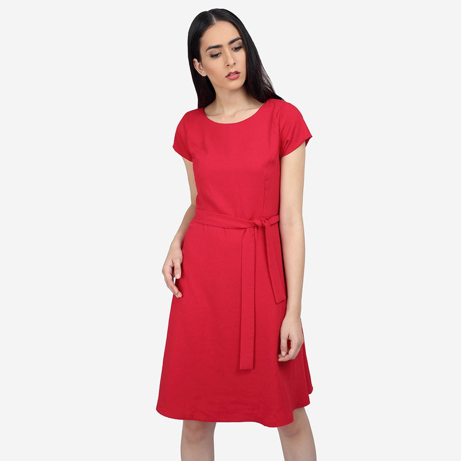 Georgette Red Flared Belted dress