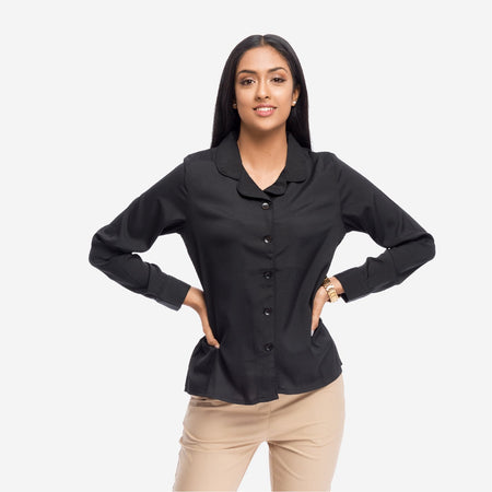 Black Georgette Lapel Collar Work Shirt