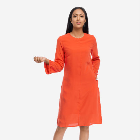 Orange Crepe A-line Business Casual Dress with Volume Sleeves