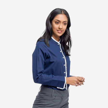 Navy Blue Formal Shirt With Contrast Ruffles