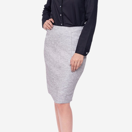 Grey Linen Melange Formal Pencil Skirt