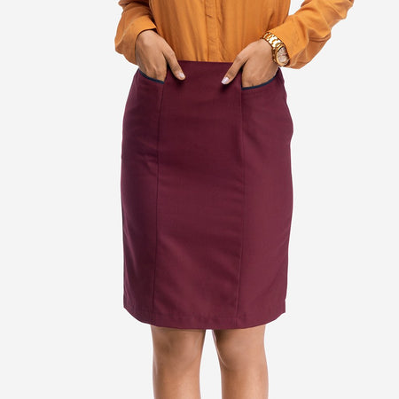 Wine Colored Formal Pencil Skirt