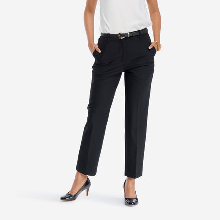 Black Straight Fit Formal Trousers