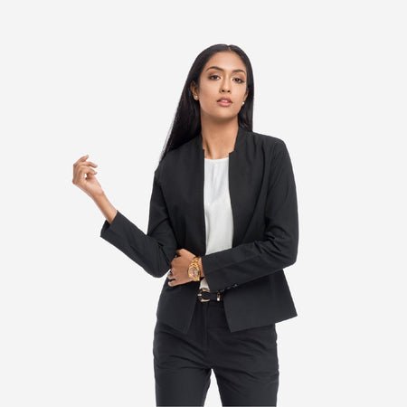 Black Tailored Formal Blazer With Front Pockets
