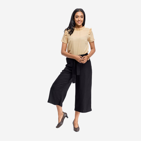 Black Soft Twill Calf Length Formal Culottes