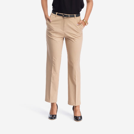 Mid-rise straight fit formal trousers for women with four functional pockets in solid beige.