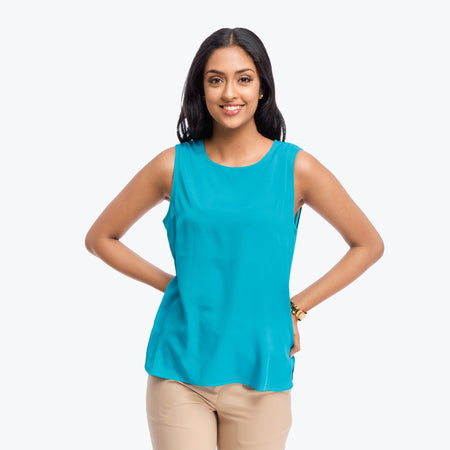 Teal Crepe Sleeveless Basic Top