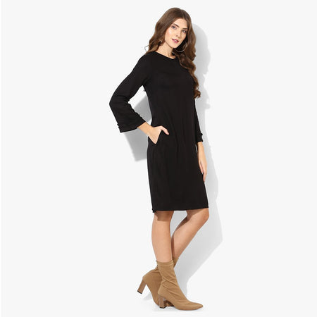 Black Twill A-line Formal Dress with Bell Sleeves