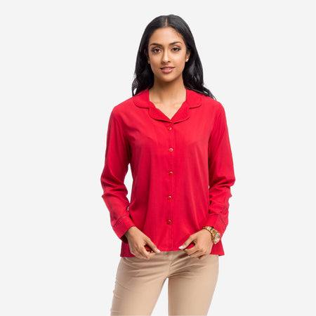 Red Georgette Lapel Collar Long Shirt