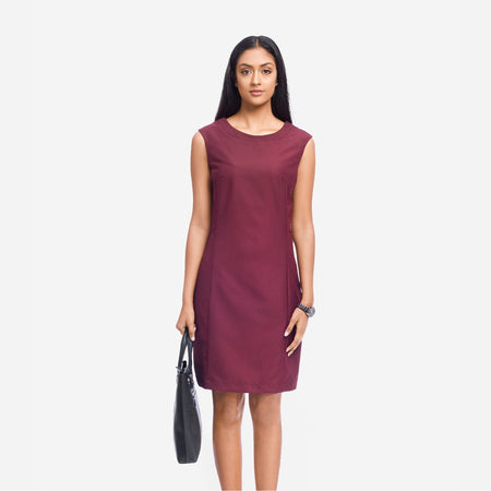 Maroon Sleeveless Tailored Formal Dress