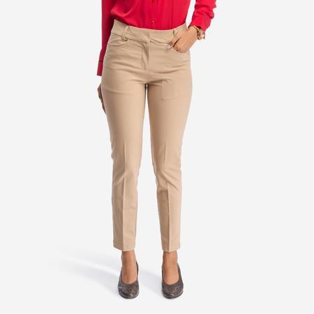 Beige Slim Fit Formal Trousers