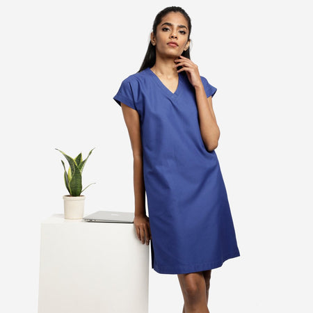Formal dress for women in office blue official dresses for work summer dresses for work A-line dress sleeveless dress