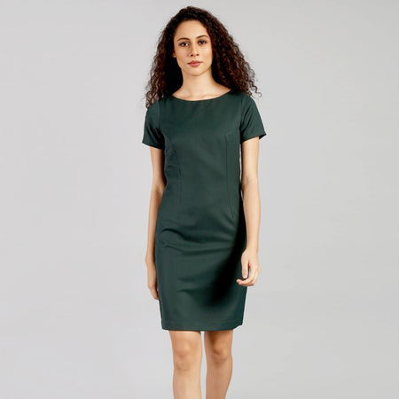 Sadolin Green Short Sleeve Formal Dress