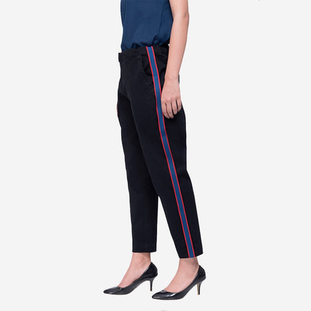 Black Straight Ankle Length Trousers with Stripes