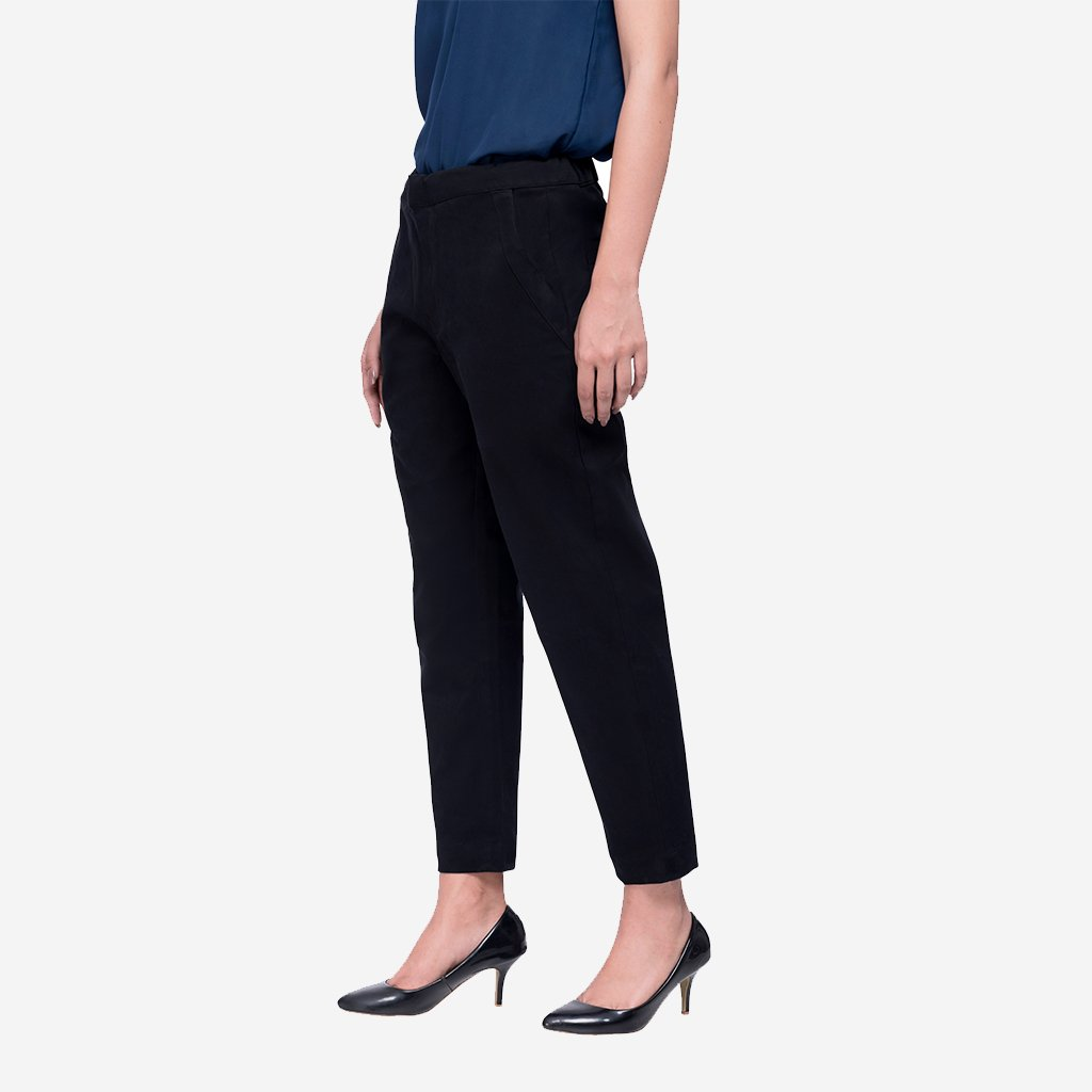 Black Cotton Straight Ankle Length Formal Trousers