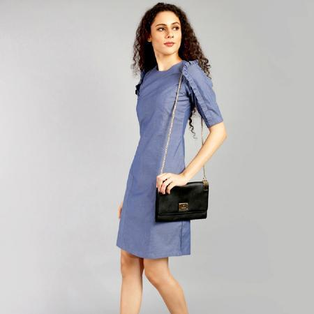 Blue Cotton Bodycon Dress with Ruffled Sleeves