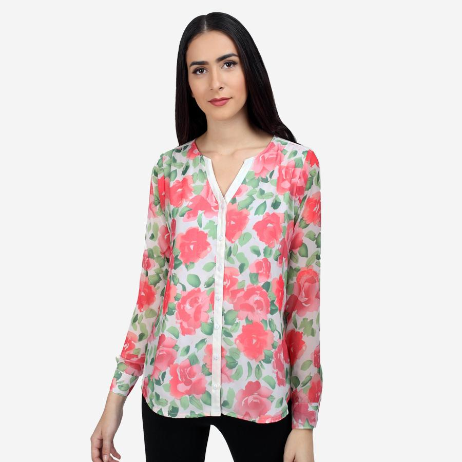 Ombré Lane Georgette Floral Printed V-neck Shirt formal shirts for women  formal shirts for women  no gape/no sheer shirts perfect shirt online luxury fabrics linen shirts cotton shirts for women white shirts for women luxury tops and shirts Designer Ladies' Shirts Online tailor fitted shirts online non-sheer white shirts Tailored Fits ladies shirts no gape shirts and tops button-down shirt striped shirts check shirts for women