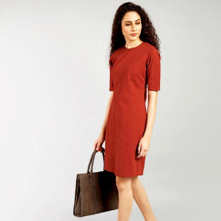 Rust Brown Bodycon Dress with Diamond Pintucks
