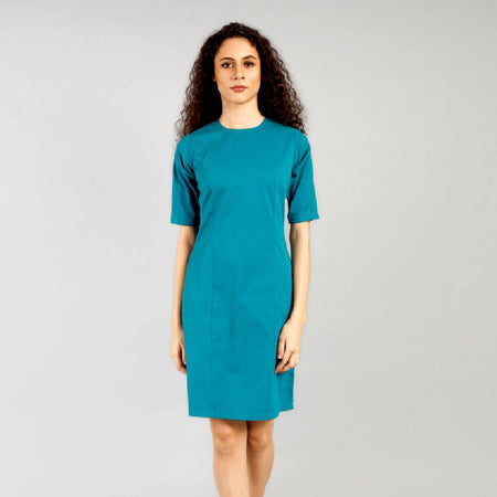 Teal Green Pin Tucks Bodycon Dress