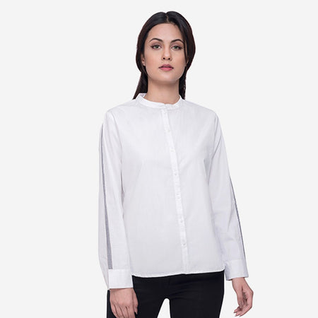 White Formal Shirt with Contrast Tape
