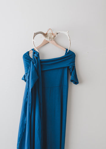Elaine Fitted Maternity Gown  Teal