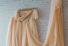 Elia Gown, champagne chiffon and lace