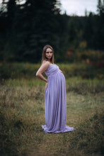 Flowing stretch knit Tracie Gown, sweetheart top, maxi length.  Lavender with belly split.