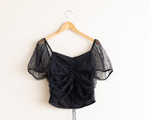 Black mesh puff sleeved short shirt. sz med