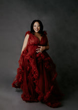 BEAUTIFUL RUFFLED RED COUTURE GOWN