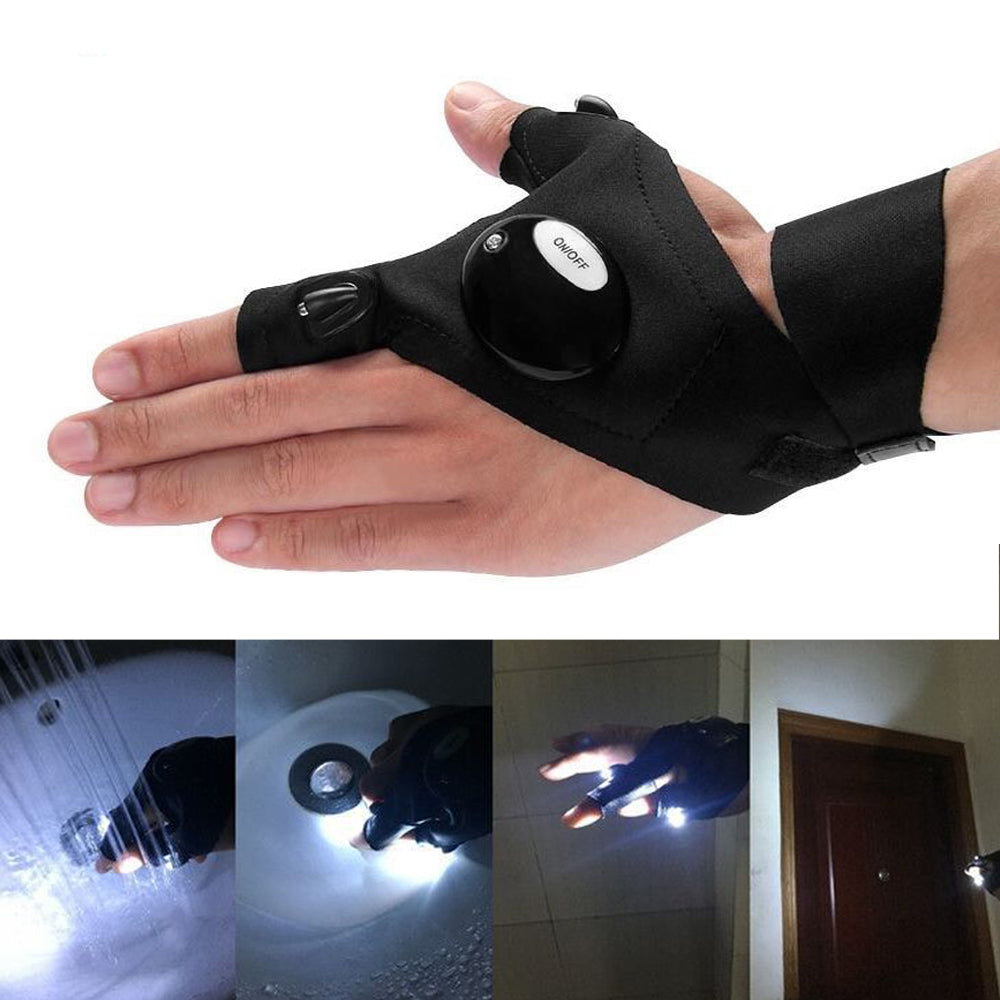1 Pair Waterproof Flashlight Gloves