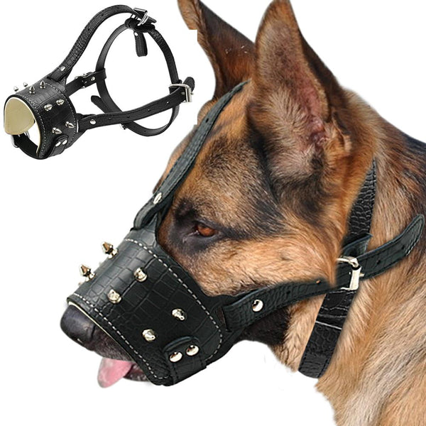 Dog Accessories - Spiked Studded Dog Muzzle ~ PU Leather Anti Biting Padded For Pitbull Labrador
