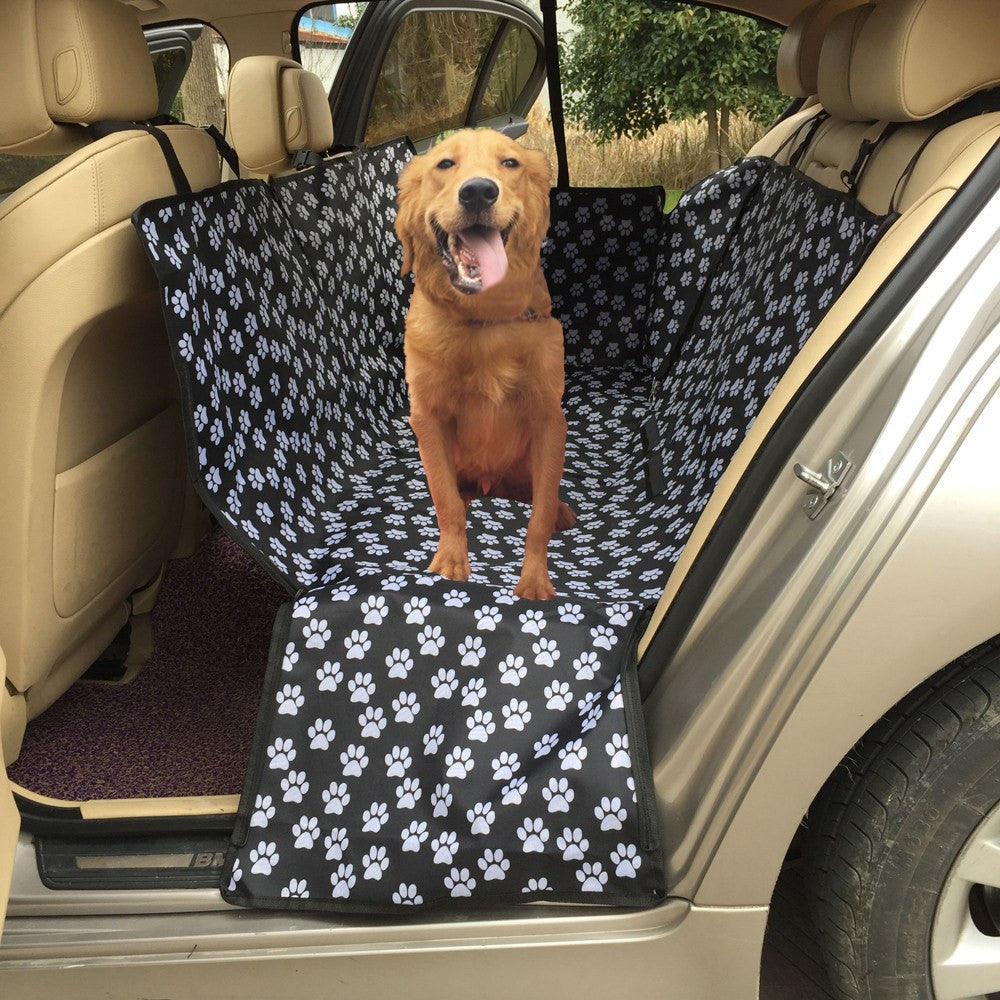 Dog Carrier - Car Pet Seat Cover; Oxford Fabric Paw Pattern; Pet Seat Travel Accessories; Car Seat Cover Mat For Pets;