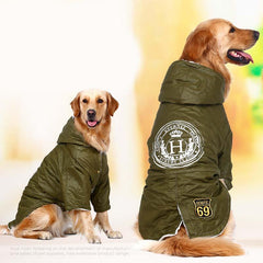 Dog Clothes - PET BONITO: Army Green Winter Fleece Hoodie For Large Dog ~ Golden Retriever Padded Jacket