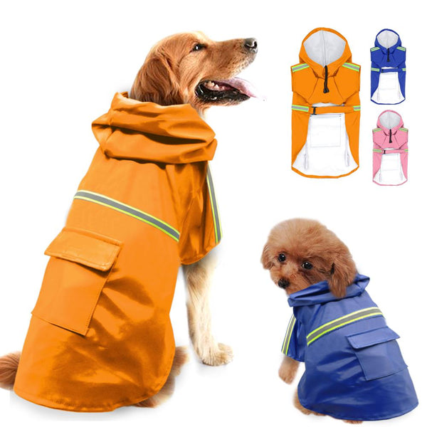 Dog Clothes - PET BONITO: Raincoat For Dogs ~ Hoodie Waterproof Dog Jacket Coat ~ Reflective Dog Clothes For Small Medium Large Dogs Labrador Chihuahua